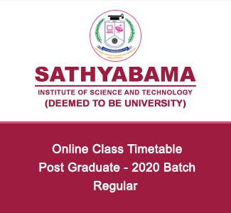 Post Graduate - 2020 Batch - Regular - Timetable